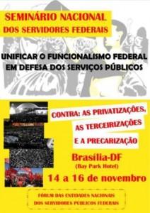 Seminário Nacional dos Servidores Públicos Federais (SPF) acontecerá em Brasíliam nos dias 14, 15 e 16 de novembro (clique para ampliar)